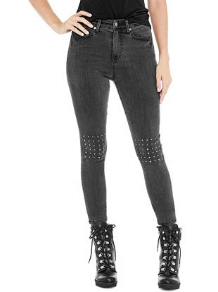 2ecfeeee8a6 sale Zamora Studded High-Rise Skinny Jeans at Guess
