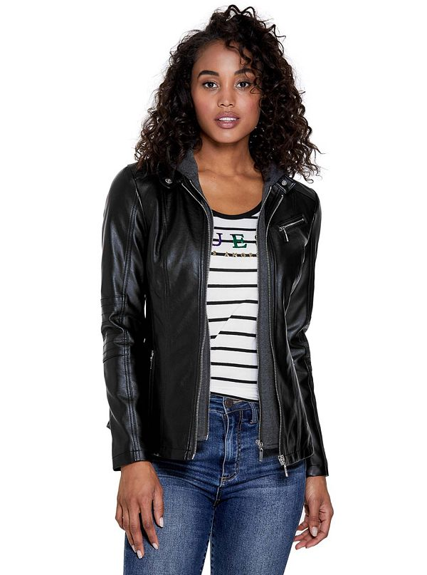 8854b13a7f724 Kahlo Hooded Faux-Leather Jacket