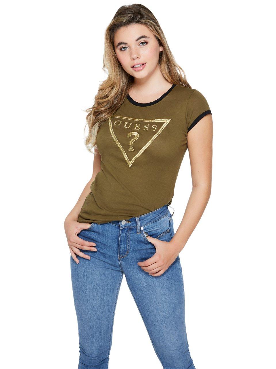 GUESS-Factory-Women-039-s-Bhell-Logo-Ringer-Tee thumbnail 2
