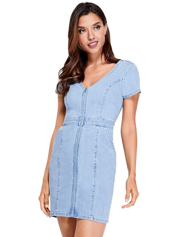 cf265ddff7f Galilea Denim Zip Mini Dress