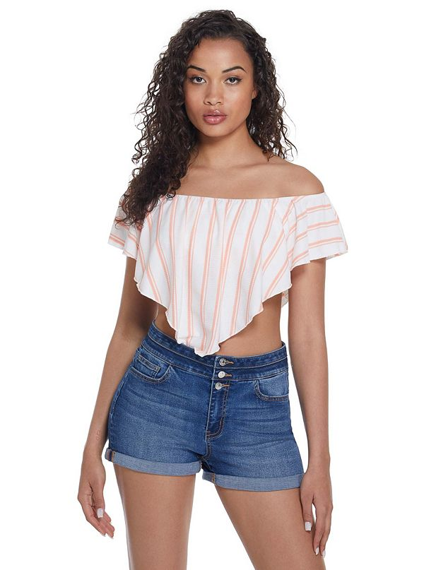 2834fe16 Q9FP29R0T00 · New Arrivals · Shanae Striped Off-The-Shoulder Top