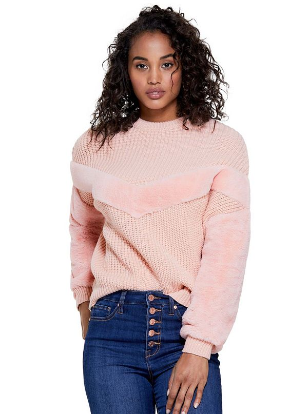 40c246aa56821 Diona Faux-Fur Trim Sweater