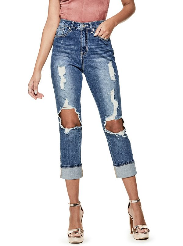 Olivia High Rise Girlfriend Jeans | GbyGuess Canada