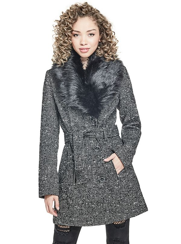 Jocelyn Tweed Faux-Fur Wrap Coat | GbyGuess.com