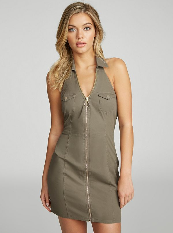 cdbf499906 Channing Zip-Front Halter Dress