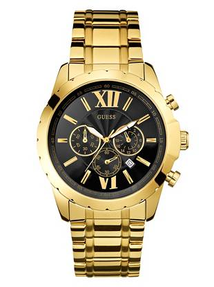 black and gold tone numeral chronograph