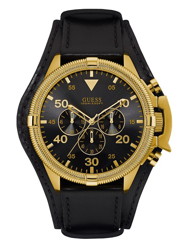 black and gold tone bold masculine guess