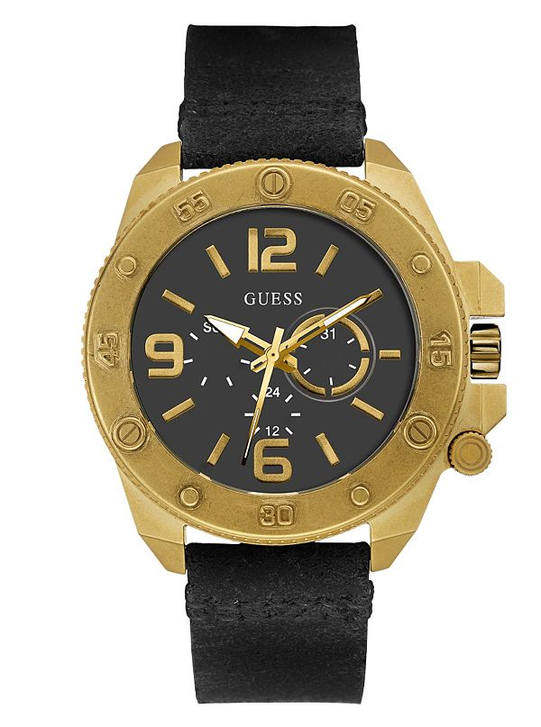 black and gold tone leather guess