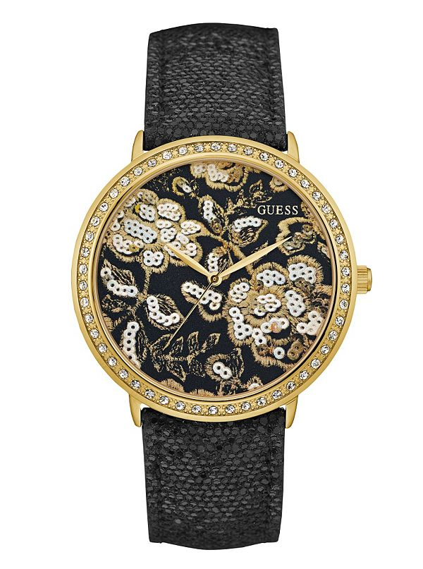 black and gold tone floral guess