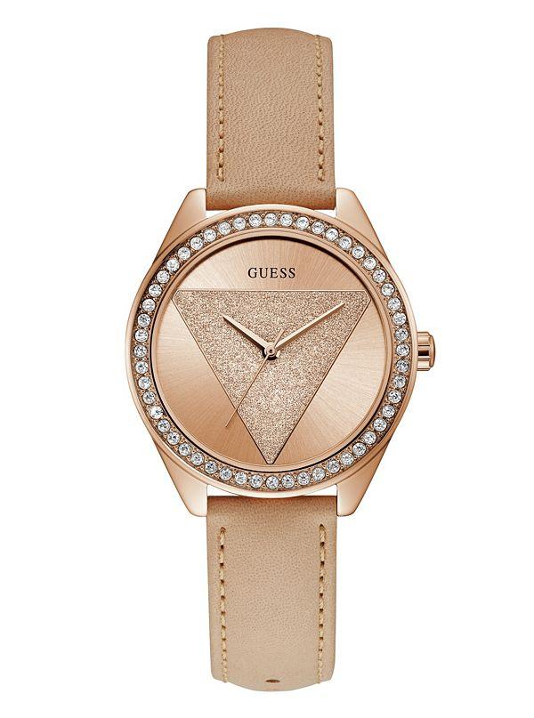 27d43cce5 Rose Gold-Tone Glitzy Triangle Watch | GUESS.com