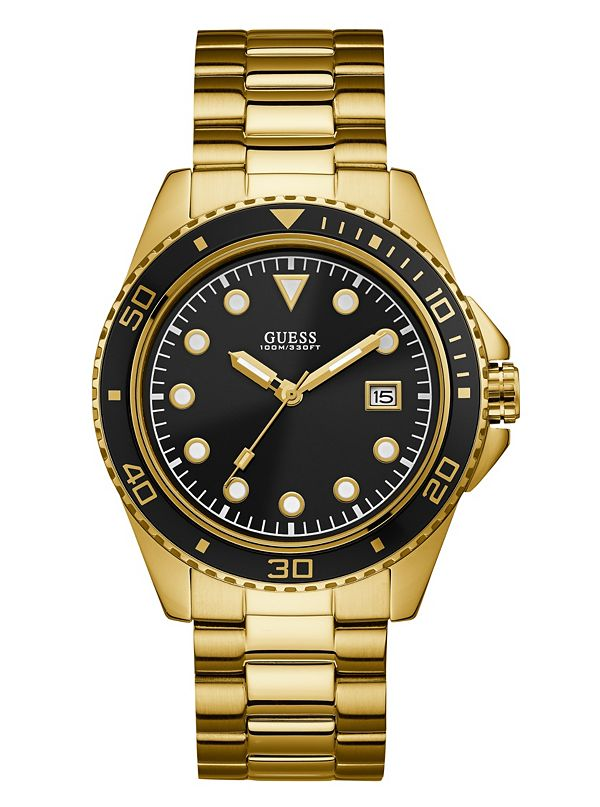 Gold Tone And Black Classic Watch Guess Com