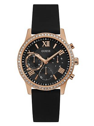Rose Gold Tone And Black Multifunction Watch Guess Com