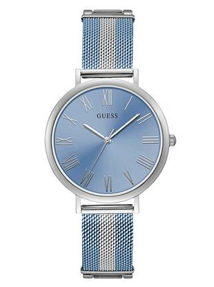 Silver Tone And Blue Analog Watch by Guess