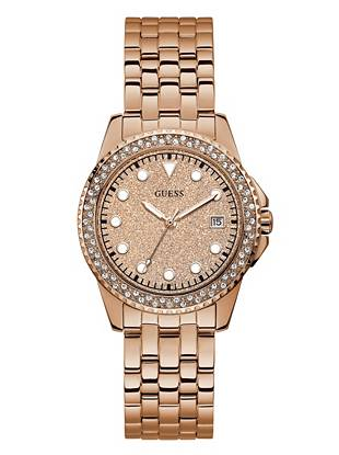 Rose Gold Tone Glitter Analog Watch by Guess
