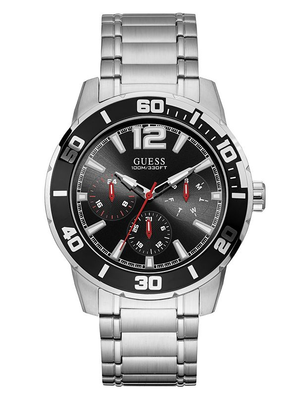1fd89657d Silver-Tone and Black Multifunction Watch