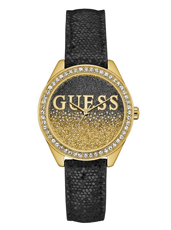 black and gold tone iconic sparkle guess ca