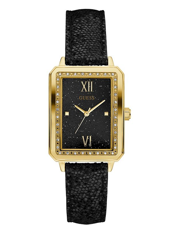 black and gold tone rectangle guess ca
