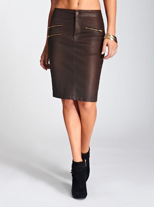 longette coated denim moto skirt only guess