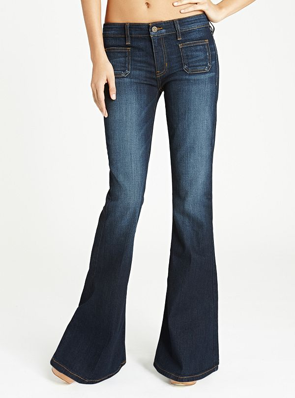 details for top-rated genuine highly coveted range of 70s Mid-Rise Flare Jeans in CRX Wash | GUESS.com