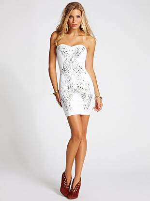 Strapless Studded Ponte Dress at Guess