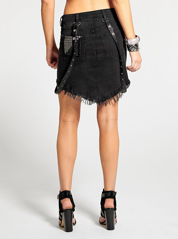 denim skirt with suspenders guess