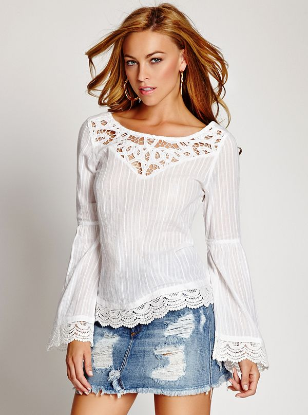 c4f55521b2 Bell-Sleeve Lace Top | GUESS.ca