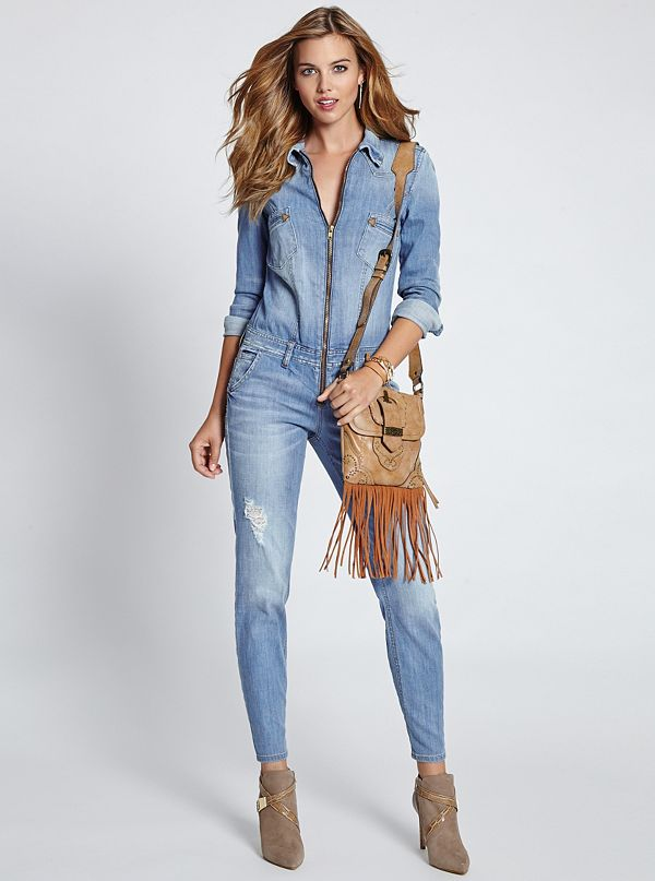 Long-Sleeve Denim Jumpsuit in Canyon Indigo Wash | GUESS.com