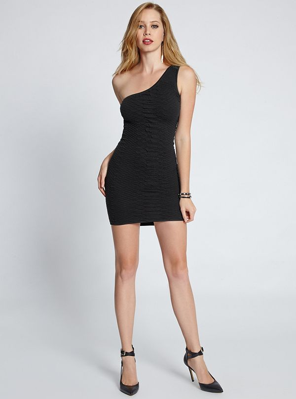 one shoulder snakeskin texture sweater dress. Black Bedroom Furniture Sets. Home Design Ideas