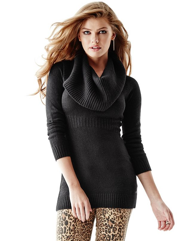 Long-Sleeve Cowl-Neck Ribbed Tunic Sweater | GUESS.com