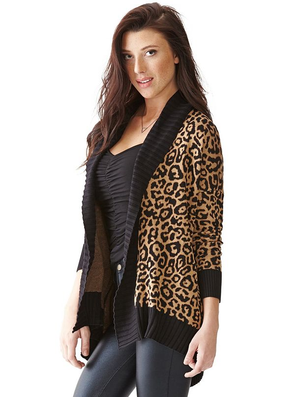 7a4fa3e8d Long-Sleeve Double-Jacquard Leopard-Print Cardigan
