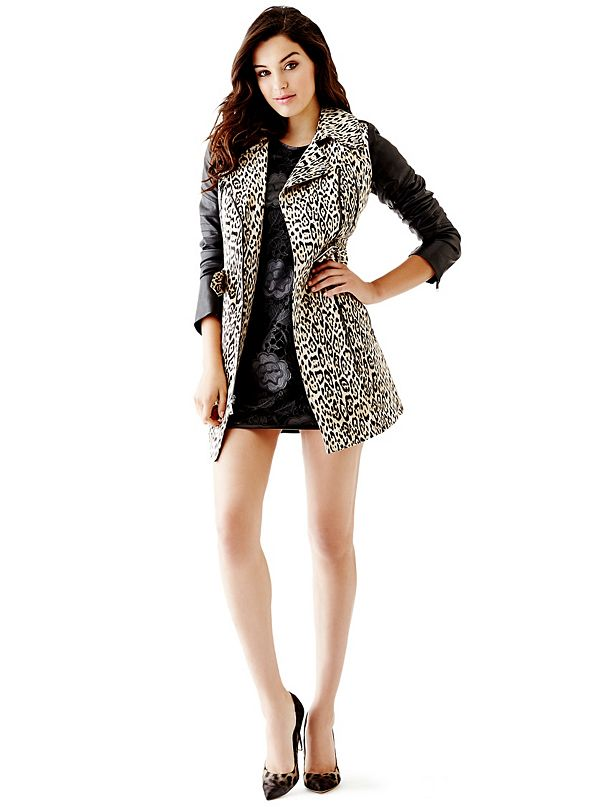 Quilted Faux Leather Sleeve Trench Coat Guess Com