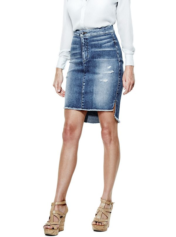 high low denim longette skirt guess