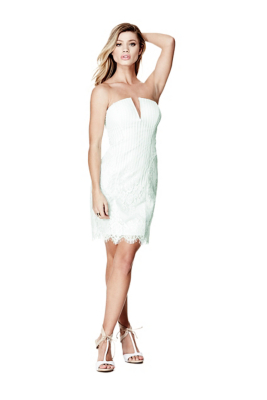 Guess strapless lace cocktail dress