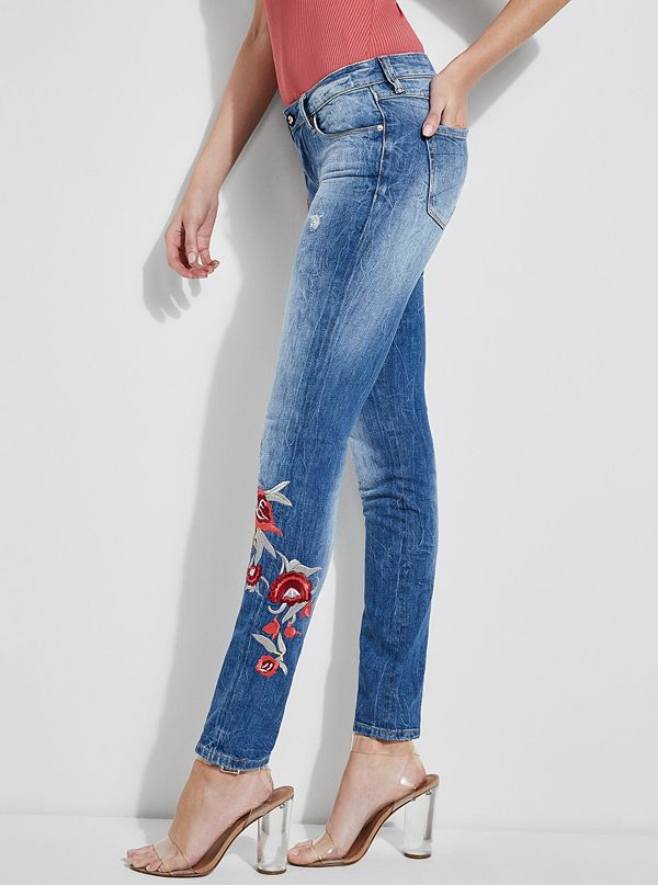 Guess Starlet Embroidered Skinny Jeans Kale Embroidery 28