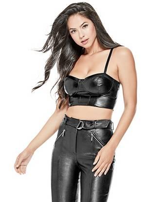 Faux Leather Bustier Top Guess Com