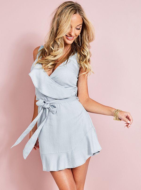 Laguna Striped Wrap Dress by Guess