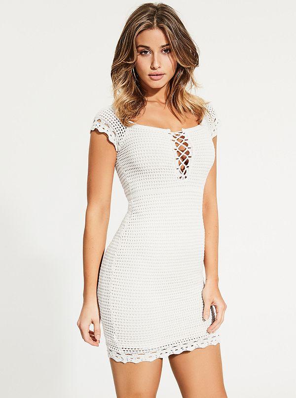 Hana Off The Shoulder Crochet Dress Guesscom