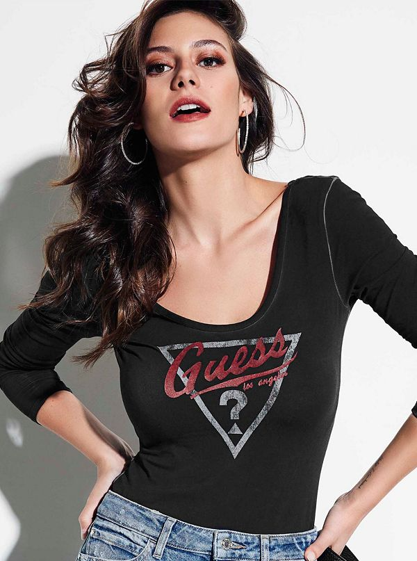 a975f8a1650c9d GUESS Originals Triangle Logo Bodysuit | GUESS.ca