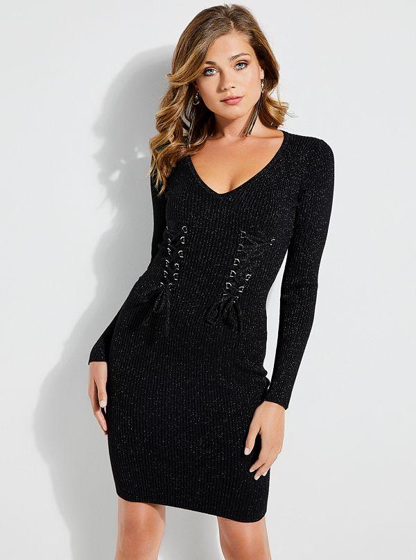 Glitz Lace Up Sweater Dress Guess