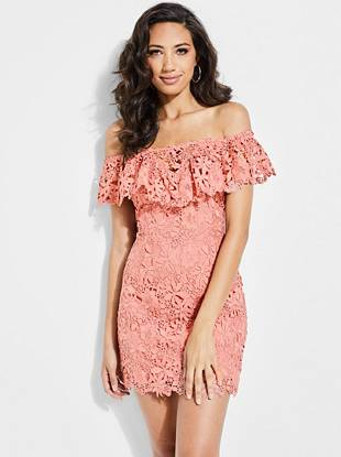 Alla Crochet Off The Shoulder Dress by Guess