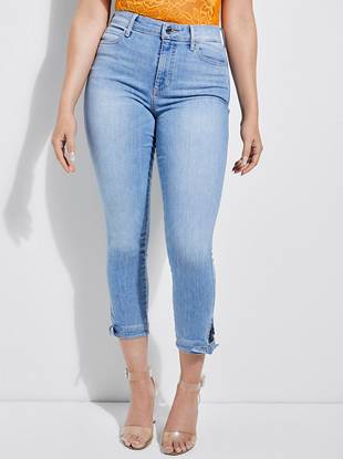 1981 High Rise Tie Cropped Skinny Jeans by Guess