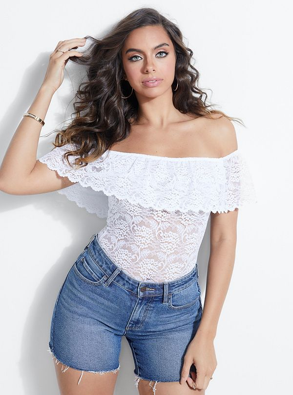 cb69092bd73a New Arrivals · Rionna Off-The-Shoulder Lace Bodysuit
