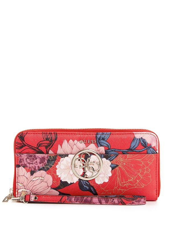 Portefeuille zippé à broderie floral Kamryn   GUESS.ca