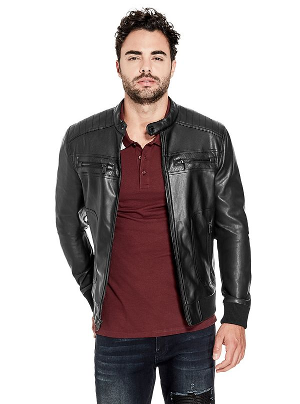 Florence Faux Leather Moto Jacket Guessfactory Com