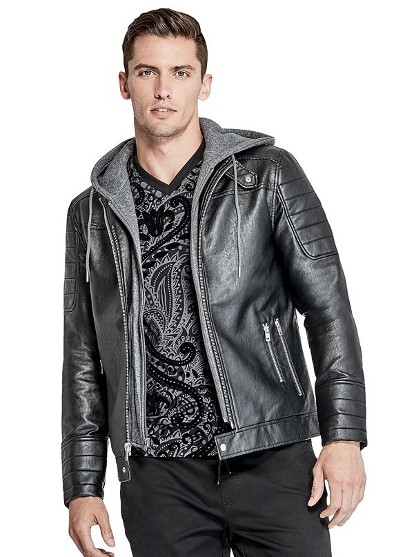 Donato Faux Leather Moto Jacket Guessfactory Com