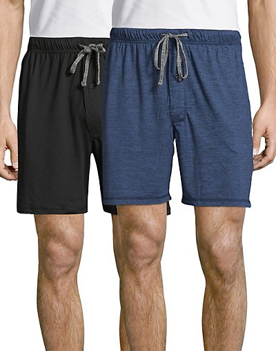 653cffb6 Hanes Men's Knit Shorts 2-Pack X-Temp Brushed Performance Draw ...
