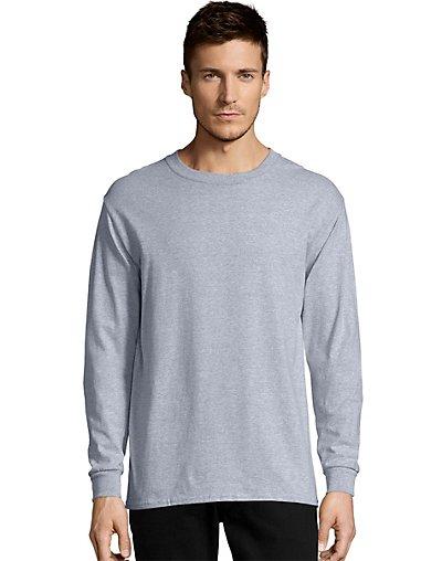 Hanes-Men-039-s-Long-Sleeve-T-Shirt-TAGLESS-Comfortsoft-100-Cotton-Heavyweight-5286 thumbnail 5