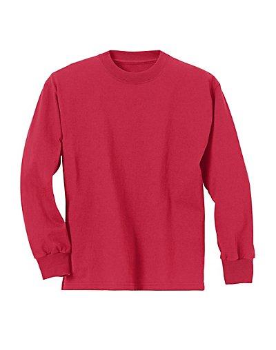 81c54bf963fd Hanes Youth ComfortSoft TAGLESS Long-Sleeve T-Shirt Boy Crewneck Rib ...