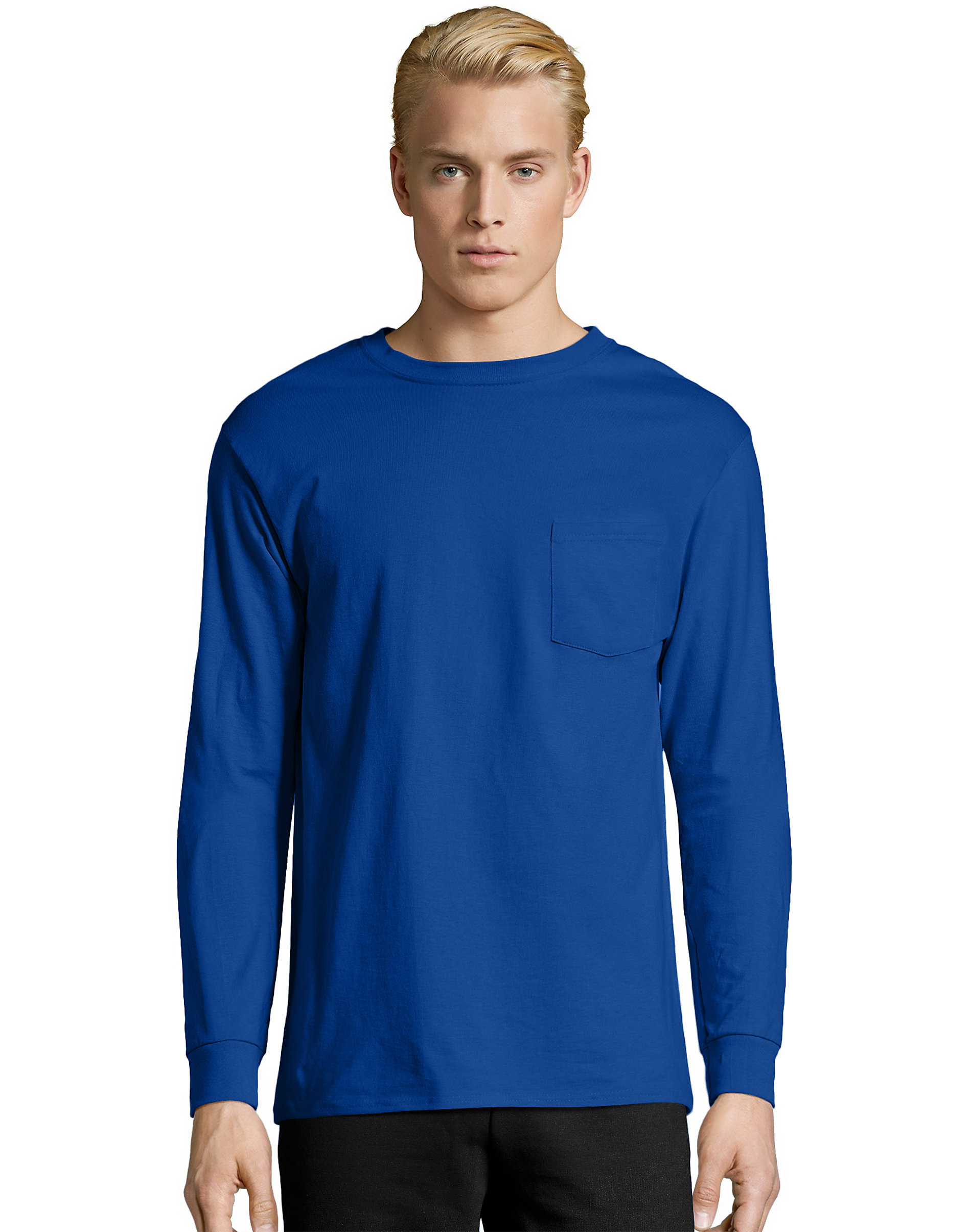 Hanes-Long-Sleeve-T-Shirt-with-a-Pocket-Mens-TAGLESS-Cotton-S-3XL-11-Colors-5596