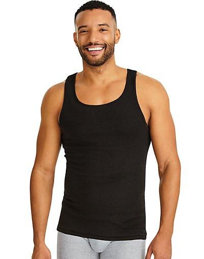 Hanes Men/'s A-shirts All Black Tagless Tanks 4-pack